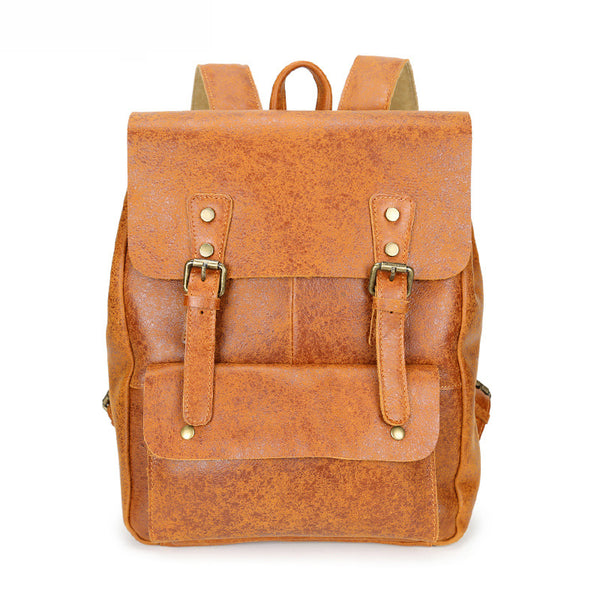 Men Full Grain Leather School Bag Men Retro Backpack Handmade Laptop Backpack YD8175 - ROCKCOWLEATHERSTUDIO