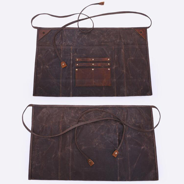 Waxed Canvas Gardening Apron Multifunction Craftsman Apron Retro Waterproof Apron YD5790 - ROCKCOWLEATHERSTUDIO