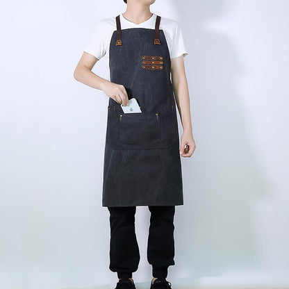 Waterproof And Oil Proof Apron Multifunction Tools Apron Leather And Canvas Craftsman Apron YD5792 - ROCKCOWLEATHERSTUDIO