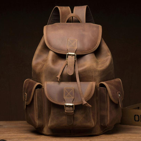 Crazy Horse Leather Travel Backpack Retro Laptop Backpack Unisex School Backpack MSG1279 - ROCKCOWLEATHERSTUDIO