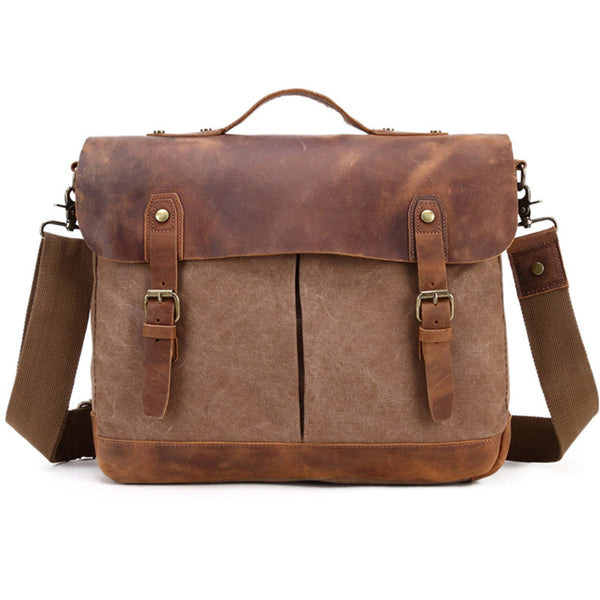 Canvas Leather Messenger Bag Vintage Crazy Horse Messenger Bag Crossbody Laptop Briefcase 396-6 - ROCKCOWLEATHERSTUDIO
