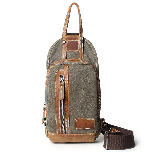 Vintage Canvas Men Chest Bags Vintage Chest Pack Men Crossbody Sling Messenger Bags 1012