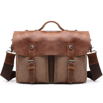 Messenger Bag Leather, Canvas With Leather Briefcase, Handmade Casual Shoulder Bag, 1023