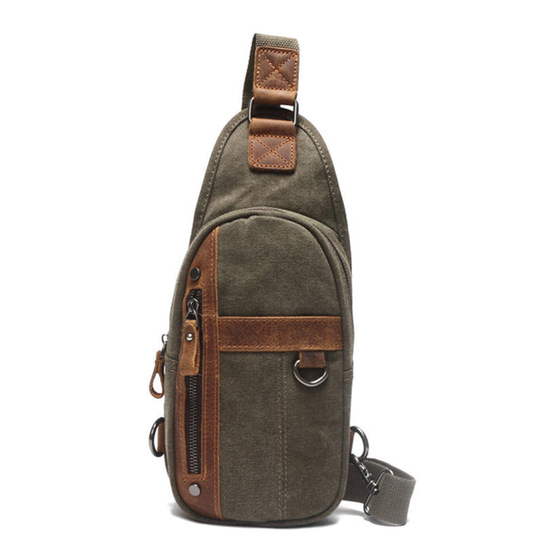 Canvas Men Chest Bags Vintage Chest Pack Men Crossbody Sling Messenger Bags 1026 - ROCKCOWLEATHERSTUDIO
