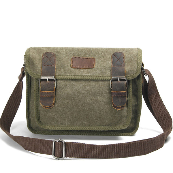 Canvas Leather Messenger Bag Vintage Canvas Man Bag Crossbody Shoulder Bag 2016 - ROCKCOWLEATHERSTUDIO
