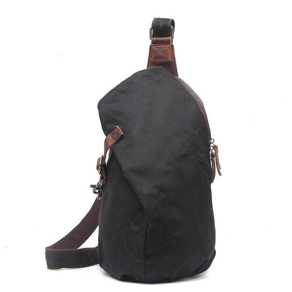 Canvas Leather Men Chest Bags Vintage Chest Pack Men Crossbody Sling Messenger Bags 2040 - ROCKCOWLEATHERSTUDIO