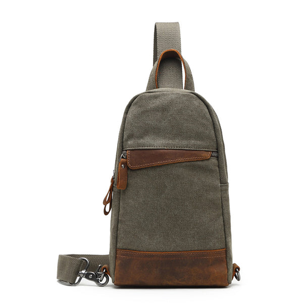Canvas Leather Chest Bags Vintage Chest Pack Men Crossbody Sling Messenger Bags K2027 - ROCKCOWLEATHERSTUDIO