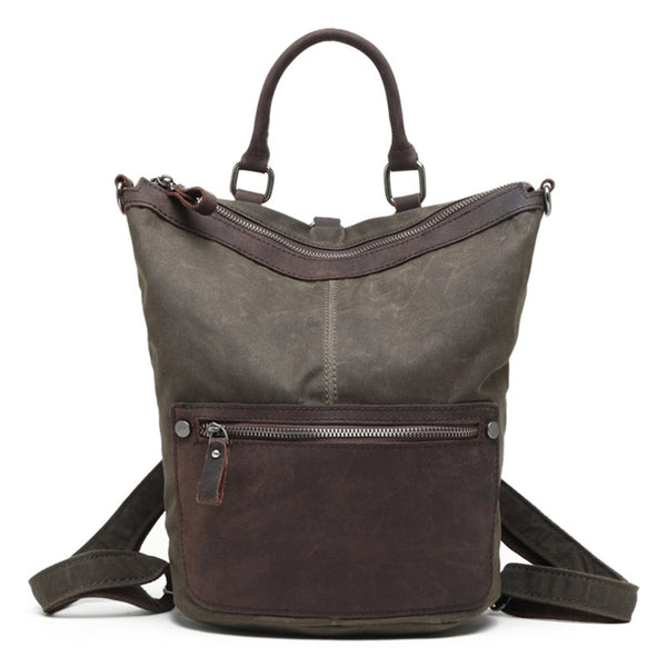 Waxed Canvas Top Grain Leather Backpack, Fashion Backpack, Waterproof Shoulder Bag 2051 - ROCKCOWLEATHERSTUDIO