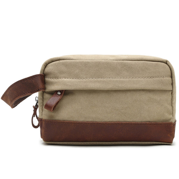 Canvas Leather Toiletry Bag New Design Dopp Kit Vintage Cosmetic Bag Wash Bag 2057 - ROCKCOWLEATHERSTUDIO