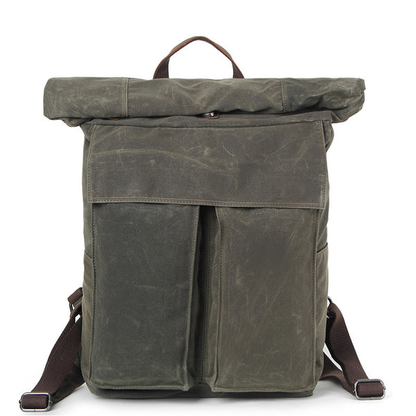 New Design Waxed Canvas Backpack, Fashion Laptop Backpack, Vintage Waterproof Shoulder School Bag 2050 - ROCKCOWLEATHERSTUDIO