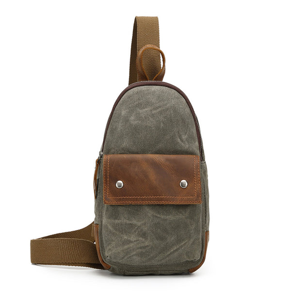 Unisex Canvas Chest Bags Vintage Chest Pack Crossbody Handmade Sling Messenger Bags 2070 - ROCKCOWLEATHERSTUDIO
