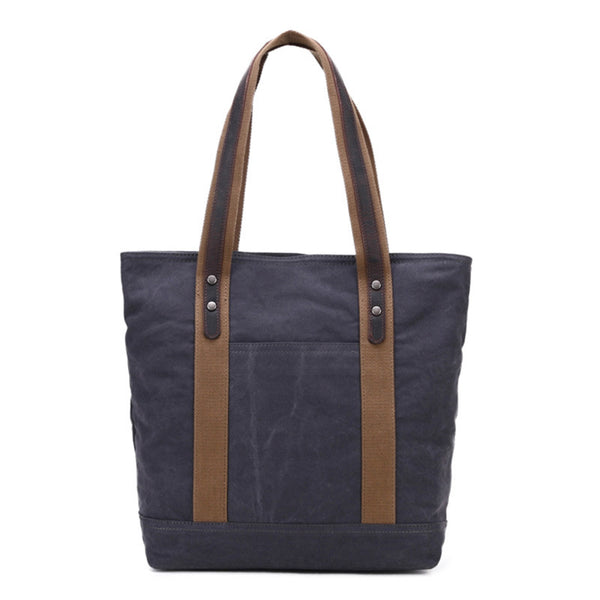 Canvas Top Grain Leather Tote Bag, Women Shoulder Bags, Shopper Bag, Vintage Daily Bag 2076 - ROCKCOWLEATHERSTUDIO