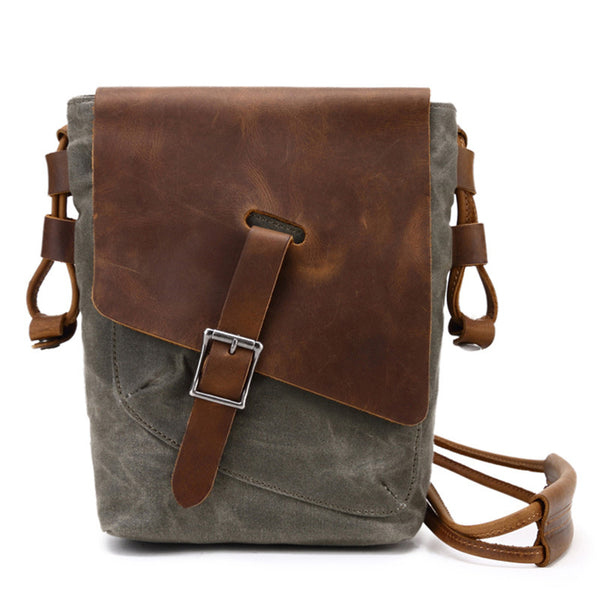 Canvas Crossbody Messenger Bag Vintage Messenger Bag Canvas Satchel Bags 2074 - ROCKCOWLEATHERSTUDIO