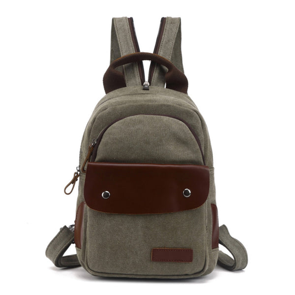 Waxed Canvas Leather Backpack, Vintage Waterproof Shoulder School Bag 80599 - ROCKCOWLEATHERSTUDIO