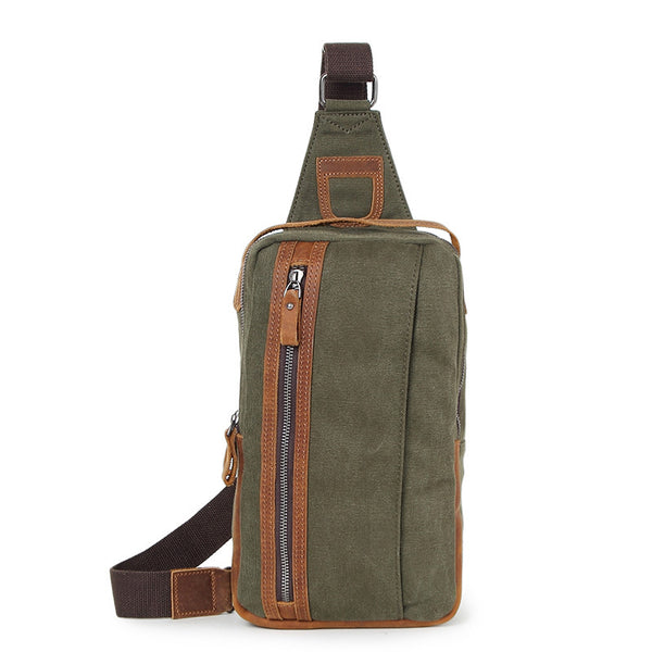 Top Grain Canvas Leather Chest Bags Vintage Chest Pack Men Crossbody Sling Shoulder Messenger Bags 80580