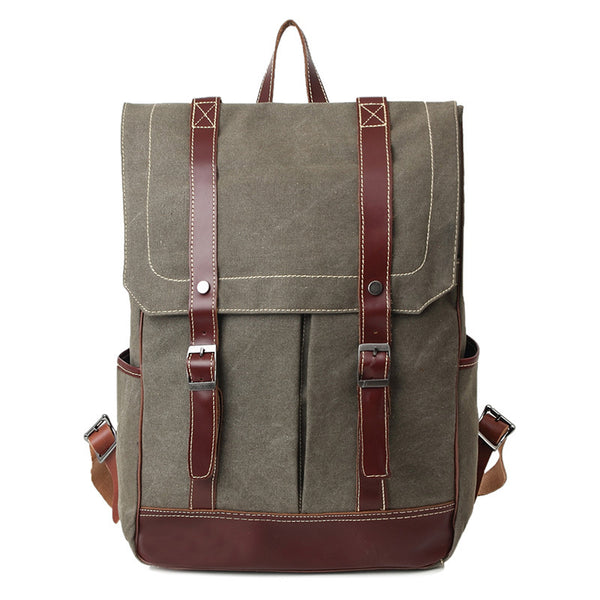 Waxed Canvas Leather Backpack, Big Capacity Laptop Backpack, Vintage Waterproof Shoulder School Bag 80585