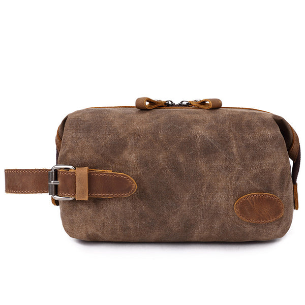 Personal Canvas Leather Toiletry Bag New Design Dopp Kit Vintage Cosmetic Bag 8809 - ROCKCOWLEATHERSTUDIO