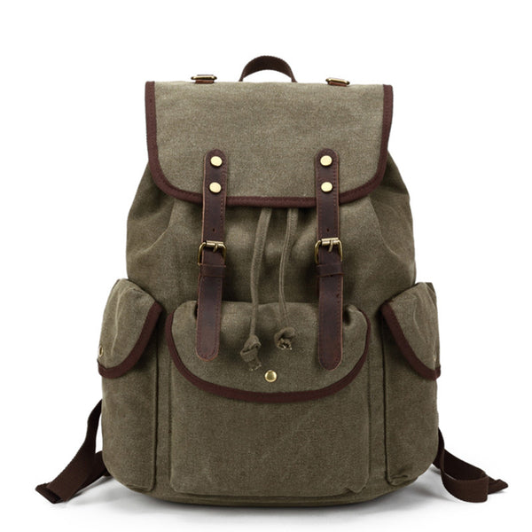 Outdoor Canvas Leather Backpack, Casual Laptop Backpack, Vintage Shoulder School Bag 8819 - ROCKCOWLEATHERSTUDIO