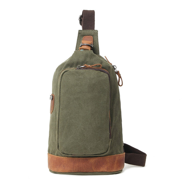 Casual Canvas Men Chest Bags Vintage Chest Pack Men Crossbody Sling Messenger Bags 80581-1 - ROCKCOWLEATHERSTUDIO
