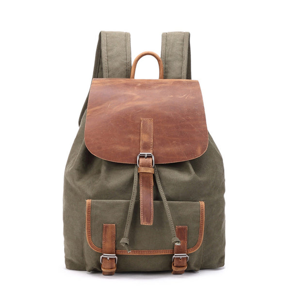 Korean Style Canvas Leather Backpack, Fashion Casual Shoulder School Bag Book Bag 8822