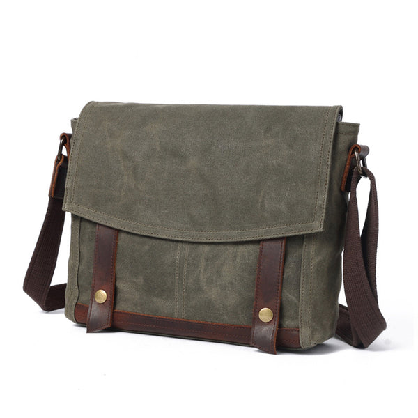 Waxed Canvas Messenger Bag Vintage Canvas Satchel Bag Crossbody Canvas Courier Bag 8825 - ROCKCOWLEATHERSTUDIO