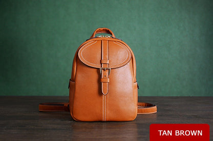 Vegetable Tanned Brown Leather Backpack, Shoulder Bag, Satchel Bag, School Backpack D009 - ROCKCOWLEATHERSTUDIO