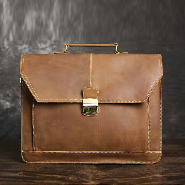Vintage Moca Mens Leather Briefcase, Leather Messenger Bags - ROCKCOWLEATHERSTUDIO