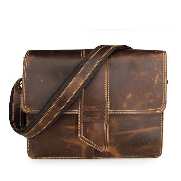 Rockcow Crazy Horse Leather Messenger Bags Men's Vintage Shoulder Bags Leather Cross Body Bag 7263 - ROCKCOWLEATHERSTUDIO