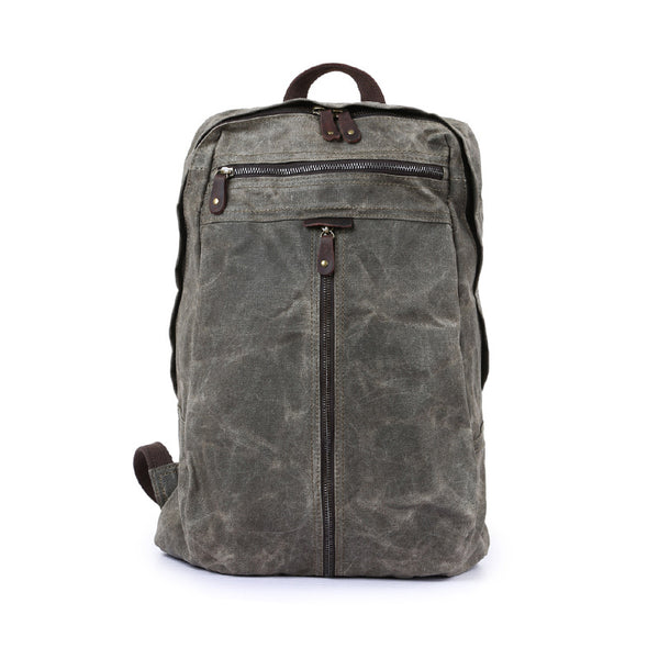Waxed Canvas Leather Backpack, Big Capacity Laptop Backpack, Vintage Waterproof Shoulder Book Bag 5385 - ROCKCOWLEATHERSTUDIO