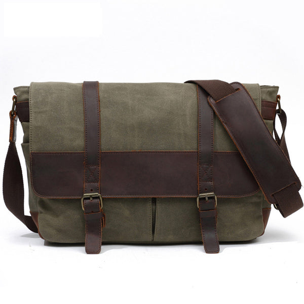 Canvas Leather Briefcase Vintage Crazy Horse Messenger Bag Crossbody Shoulder Bag Laptop Bag 8837 - ROCKCOWLEATHERSTUDIO