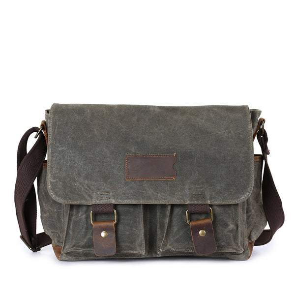 Waxed Canvas Crazy Horse Leather Messenger Bag Crossbody Shoulder Bag Laptop Bag 5356 - ROCKCOWLEATHERSTUDIO