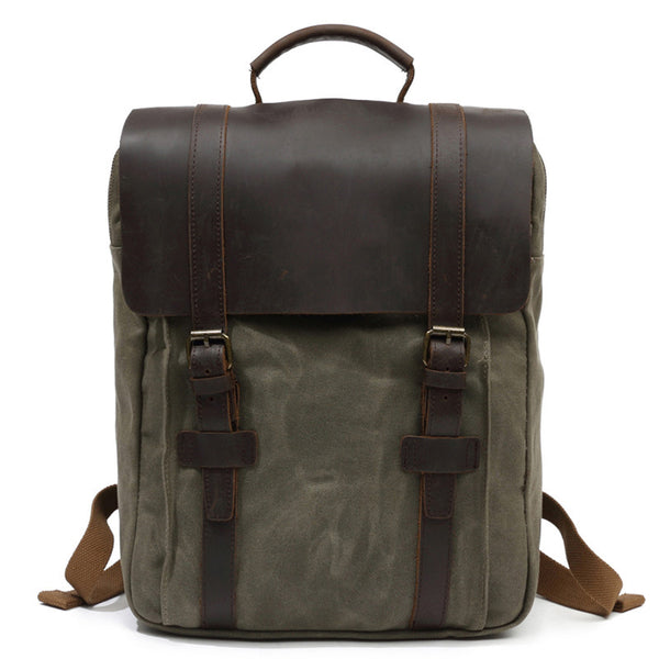 Canvas Leather Backpack, Waxed Canvas Laptop Backpack, Vintage Casual Shoulder Bag 066 - ROCKCOWLEATHERSTUDIO