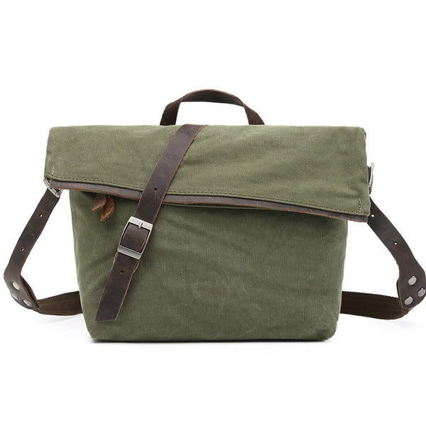 New Style Canvas Leather Messenger Bag Crossbody Sling Shoulder Bag School Bag 2053 - ROCKCOWLEATHERSTUDIO