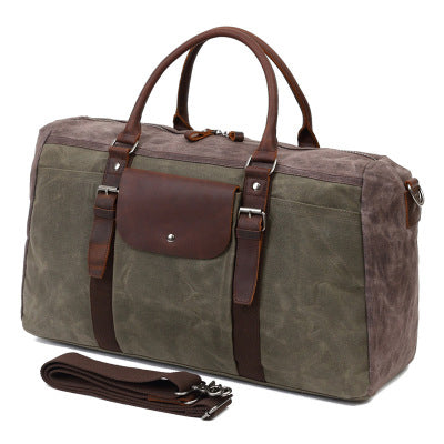 Military Duffle Bag ,Travel Duffel Bags Canvas with Leather Duffle Bag, Travel Bags for Men 5675 - ROCKCOWLEATHERSTUDIO