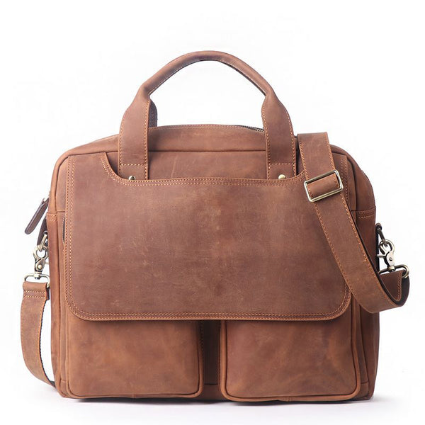 ROCKCOW Crazy Horse Genuine Leather Men Messenger Bags Vintage Briefcases Leather Laptop Bag 8985 - ROCKCOWLEATHERSTUDIO