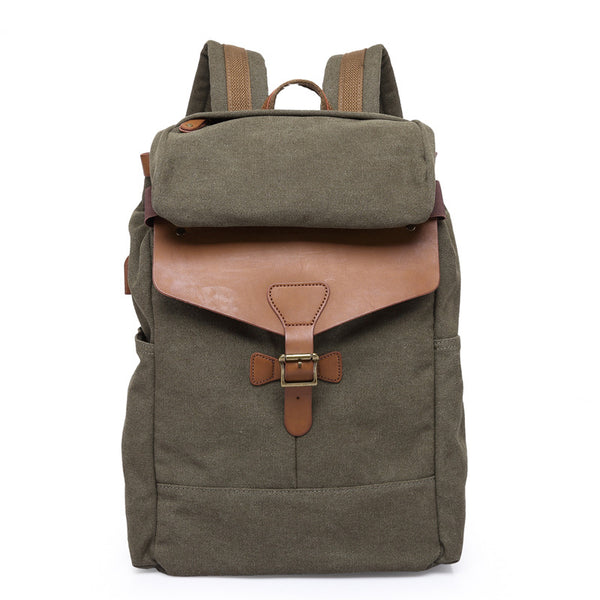 Waxed Canvas Leather Backpack, Big Capacity Laptop Backpack, Vintage Waterproof Shoulder School Bag 5508 - ROCKCOWLEATHERSTUDIO