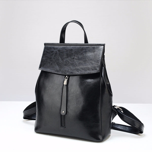 Women Leather Knapsack, Vintage Leather Backpack, Shoulder Bag 9233