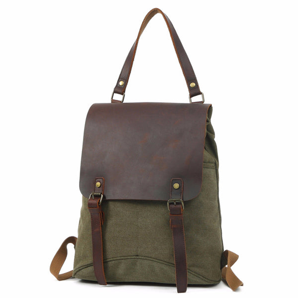 Waxed Canvas Leather Backpack, Big Capacity Laptop Backpack, Vintage Waterproof Shoulder School Bag 8830 - ROCKCOWLEATHERSTUDIO