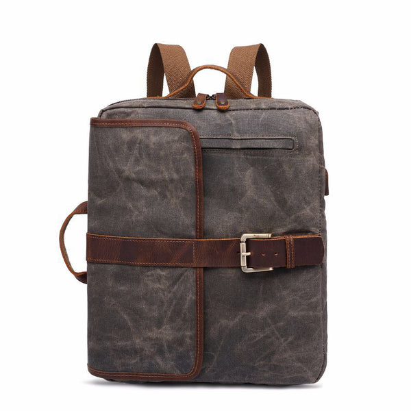 Latest Style Canvas Leather Backpack, Laptop Backpack, Vintage Waterproof Shoulder Bag 5393 - ROCKCOWLEATHERSTUDIO