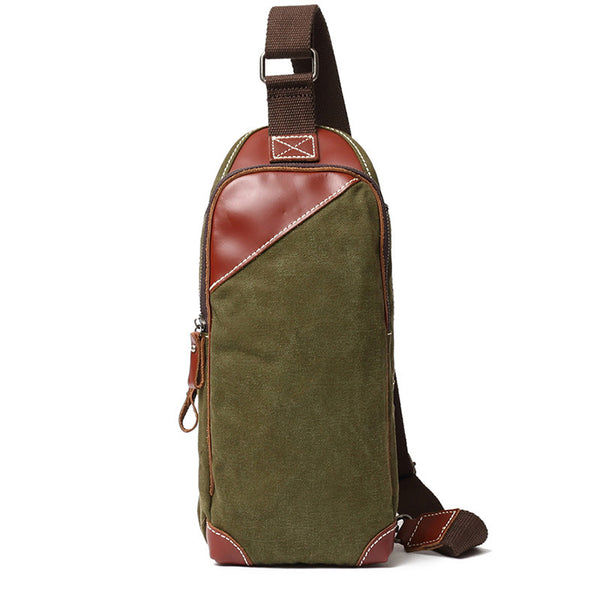 Vintage Zipper Canvas Leather Chest Bag New Design Sling Bag Vintage Chest Pack 111 - ROCKCOWLEATHERSTUDIO
