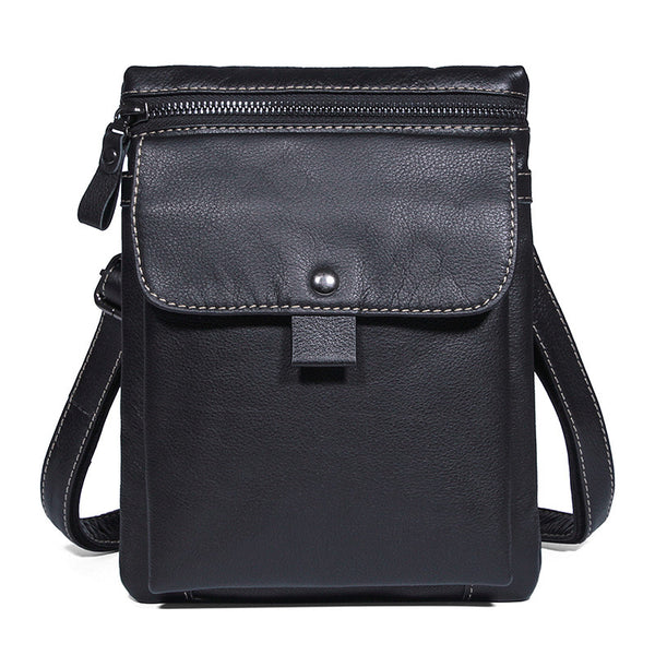 Handmade Top Grain Leather Shoulder Bag Black Leather Satchel Bag Men's Portable Messenger Bags 1046A