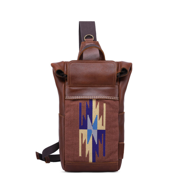 Full Grain Leather Men Chest Pack Retro Men Shoulder Bag Small Messenger Bag YD5710 - ROCKCOWLEATHERSTUDIO