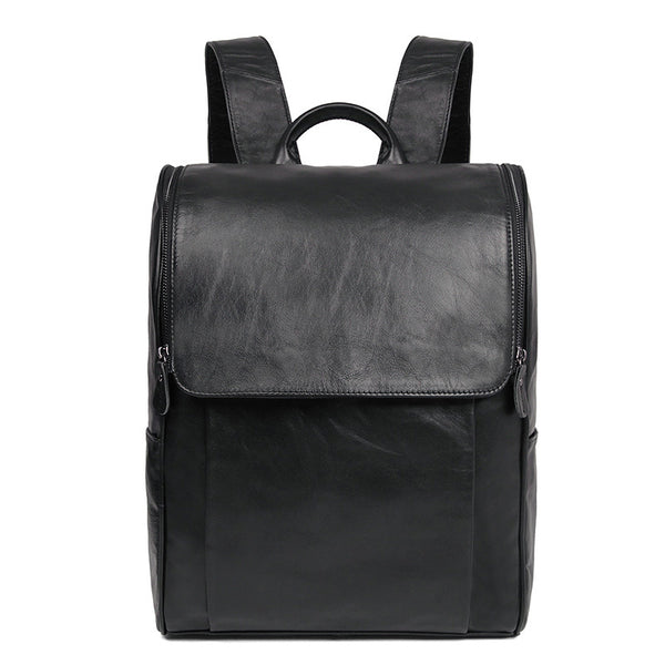 Waxed Leather Backpacks Men's Black Travel Backpack Vintage Top Grain Shoulder Bag Handbags 7344 - ROCKCOWLEATHERSTUDIO