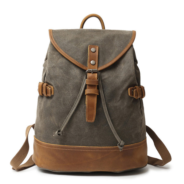 Latest Style Canvas Leather Backpack, Outing Laptop Backpack, Vintage Waterproof Shoulder Bag 2188 - ROCKCOWLEATHERSTUDIO
