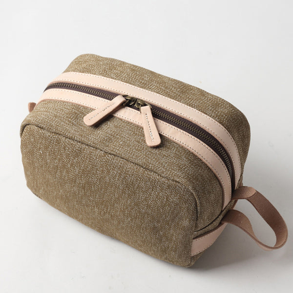 Canvas Leather Toiletry Bag New Design Dopp Kit Vintage Cosmetic Bag 7054 - ROCKCOWLEATHERSTUDIO