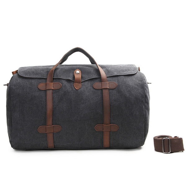Handmade Waxed Canvas Duffel Bag, Casual Hiking Bag, Weekend Bag AF12 - ROCKCOWLEATHERSTUDIO