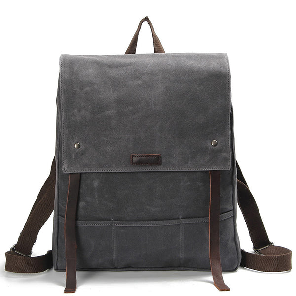 Waxed Canvas Leather Backpack Waterproof Rucksack Mens Canvas Backpack AF17  ... d76a8f90f6