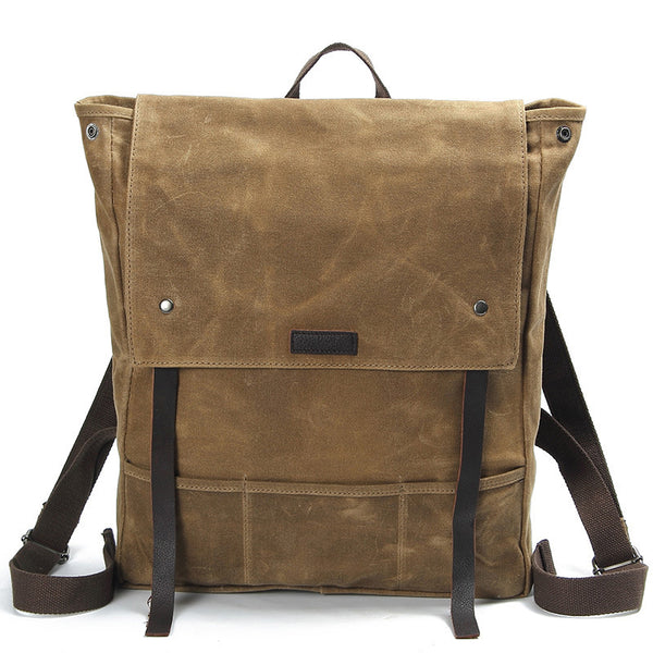 Waxed Canvas Leather Backpack Waterproof Rucksack Mens Canvas Backpack AF17 - ROCKCOWLEATHERSTUDIO