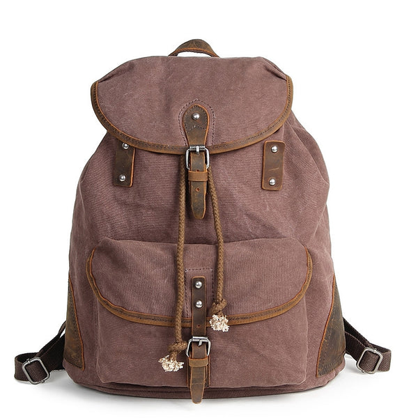 Waxed Canvas Large Backpack, Canvas and Leather Rucksack, Travel Bag AF18 - ROCKCOWLEATHERSTUDIO