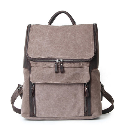 Waterproof Canvas With Leather Strap Backpack, Vintage School Bag, Hiking Rucksack AF21